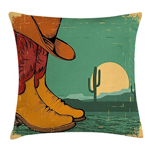 JIMSTRES Western Throw Pillow Cushion Cover, Desert Landscape Vintage Boots and Hat Grungy Old Display Cowboy, Decorative Square Accent Pillow Case, Jade Green Ruby Earth Yellow 20x20 inches