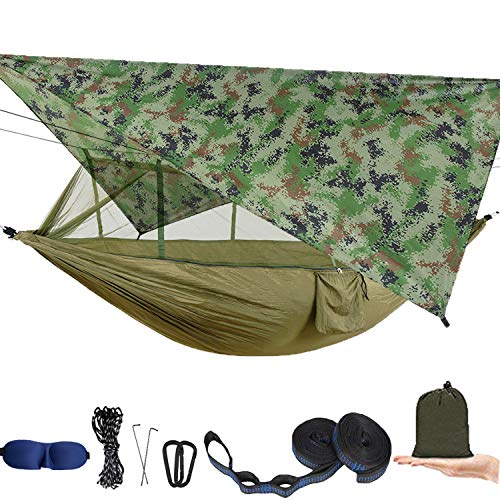 AEETT Camping Hammock with Mosquito Net and Rain Fly - Portable Travel Hammock Bug Net - Camping Equipment - Hammock Tent for Outdoor Hiking Campin Backpacking Travel (Camouflage)