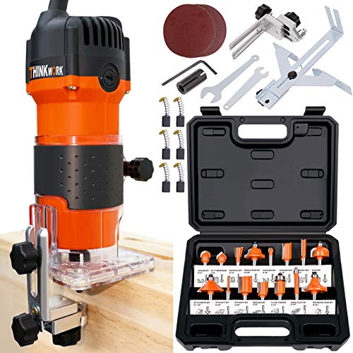 "THINKWORK Compact Router, 6.5-Amp 1.25 HP Compact Wood Palm Router Tool Kit, Wood Trimmer with 15 pieces 1/4"" Router Bits Set, 30000R/MIN"