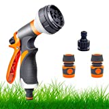 Garden Hose Pipe Spray Gun Set,8 Adjustable Patterns,High Pressure Spray Nozzle,Perfect for Watering Plants Or Lawns,Shower Pets,Car Washing,Cleaning Windows-Hose Attachments Include Hose Connectors