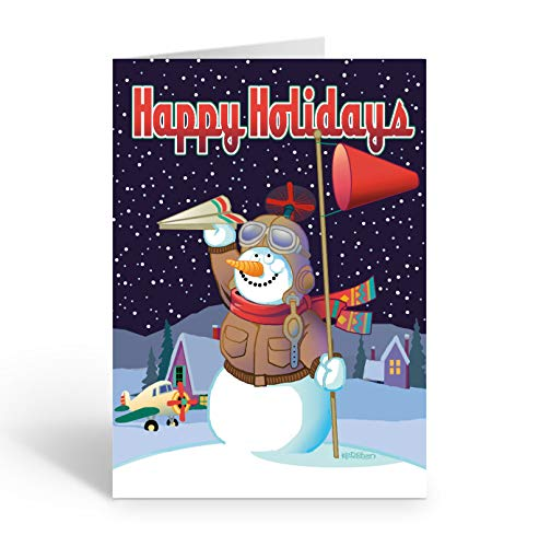 Snowman Airplane Theme Christmas Card - 18 Airplane Christmas Cards & Envelopes