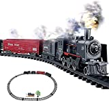 MENG TIAN Conjunto de Trenes para niños Modelo de Tren de Juguete de Juguete de Juguete, Kit de ferrocarril, Juego de Francia clásico con luz de Humo Realista y Sonido para 3-8 + años