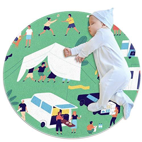 laire Daniel Spielteppich, rund, waschbar, für Kinder, Freizeit