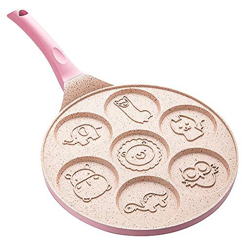 CTGVH - Padella multifunzione a 7 cavità, antiaderente, con simpatici animali, per frittata, pancake, per la colazione, colore: Rosa