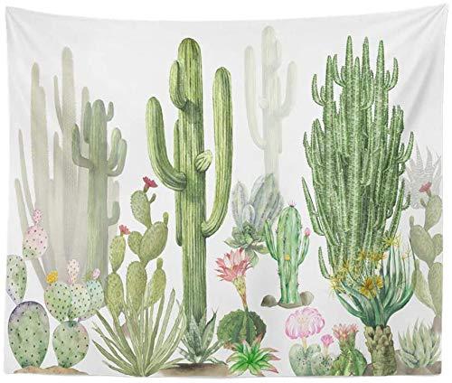 Romance-and-Beauty Tapiz de Cactus Tapiz de Pared Plantas suculentas Blancas y Verdes Manteles Tapiz de Pared de Flores Decoraciones para el hogar para el Dormitorio 59 X 59 Inch