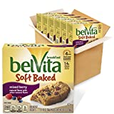 belVita Soft Baked Mixed Berry Breakfast Biscuits, 6 Boxes of 5 Packs (1 Biscuit Per Pack)