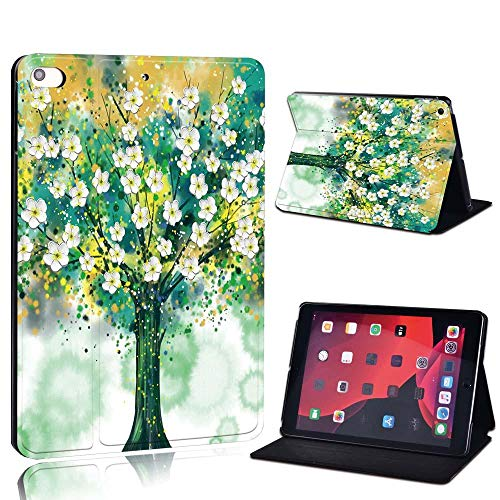 New Leather Smart Flip Case Stand Cover For Ap Ipad 2 3 4 / Mini 1 2 3 4 5 / Ipad 2017 2018 2019 / Air 3 / Pro 11 Tablet Case (Color : Flower tree, Size : IPad 2019 7th 10.2)