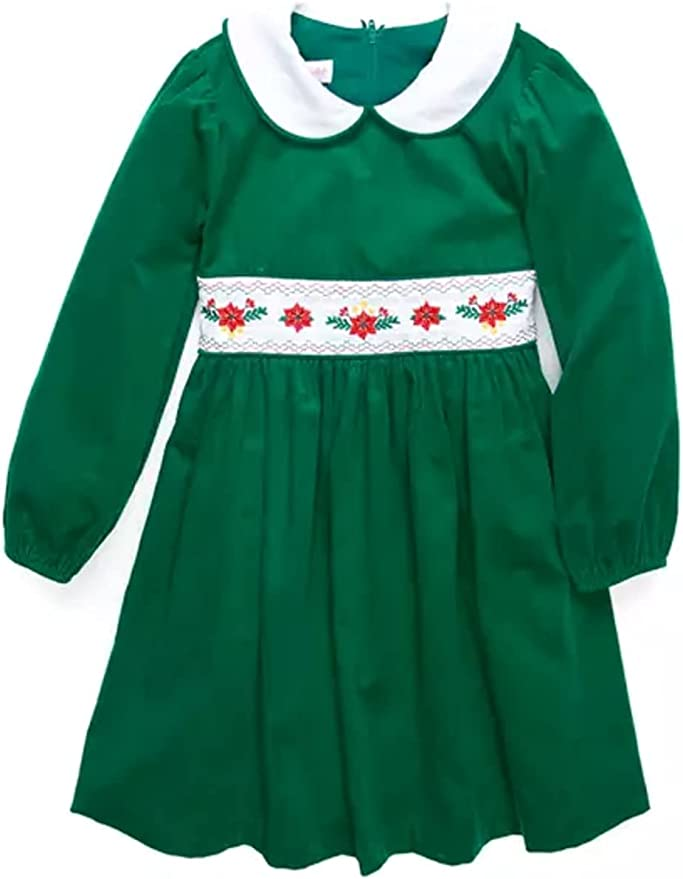 Kids 1950s Clothing & Costumes: Girls, Boys, Toddlers Bonnie Jean Baby Girls Holiday Christmas Dress - Red Smocked Corduroy for Baby and Toddler and Little Girls  AT vintagedancer.com