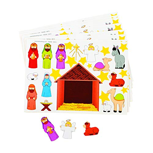Make a Nativity Scene Sticker Sheets Religious Education - - Set of 24 - VBS Christmas Party Classroom Activity Favors