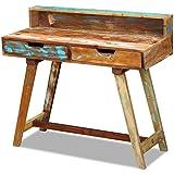 vidaXL Escritorio Mesa Vintage Dos Cajones Ordenador Oficina Despacho Computadora Trabajo Almacenamiento Tablero Madera Maciza Reciclada
