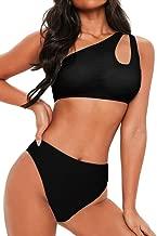 FAFOFA Women's Bikini Set Cutout One Shoulder High Waist Two Piece Swimsuit