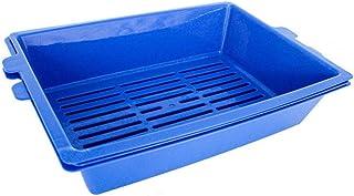 猫用トイレ本体 大きい三重層の自己のふるいにかける開いた猫のトイレ砂の反スプラッシュペットの訓練のToliet 適当な容量、快適に使える (色 : 青, サイズ : 44*32*10cm)