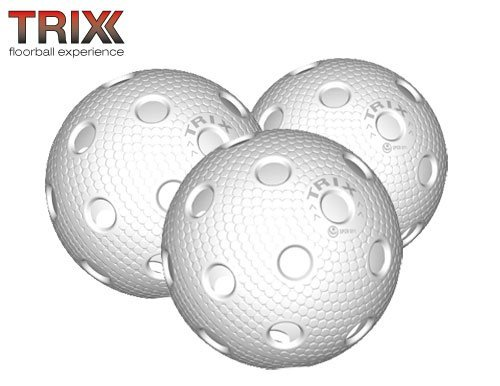 TRIX Unihockey / Floorball Ball 3er Pack MATCHBALL weiß
