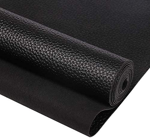 SHUANGART 17 3x52 inch Black Faux Leather Roll for Upholstery Sofa Stool Shoes Handbag Purse product image