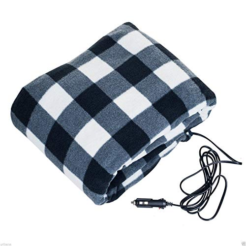 Woolala 12V Car Electric Heated Blanket, Travel Blanket for Road Trips and Camping, Fleece Heating Blanket for Cold Weather