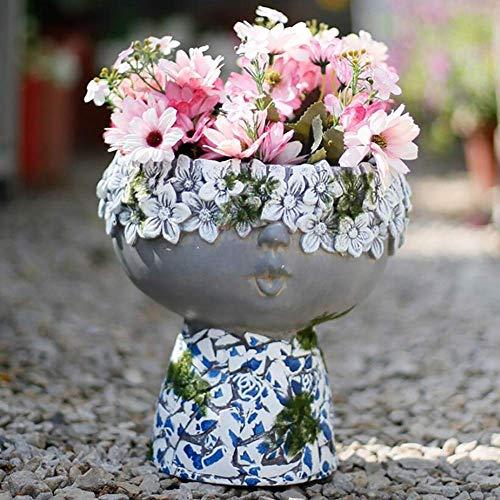 LXYZ Rétro Succulent Flowerpot Imitation en Céramique Garçon Statue Creative Jardin Cour Décoration, B + 24 cm
