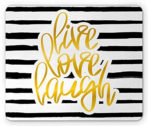Rectangle Non-Slip Rubber Mousepad, Live Laugh Love Mouse Pad, Romantic Design with Hand Drawn Stripes and Calligraphic Text, White Yellow 8