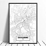 Leinwanddruck,Moderner Minimalismus Göteborg Schwarz Weiß