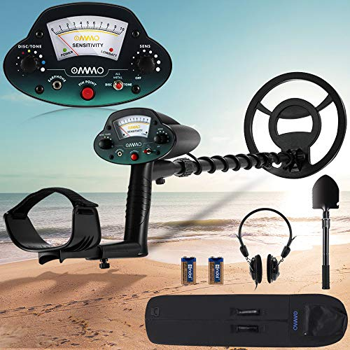 OMMO Metal Detector, Waterproof Metal Detectors for Adults, Adjustable Metal Detector Outdoor with Pinpoint & Discrimination & All Metal &Tone Mode, for Detecting Gold, Coin, Treasure Hunting