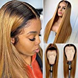 Glueless Lace Front Human Hair Wigs with Baby Hair Pre Plucked with Bleached Knots Dark Roots Ombre 1B/27 Straight Remy Brazilian Free Part 150% Density 13x4 Deep Hairline Soft Lace Wigs 20 Inch