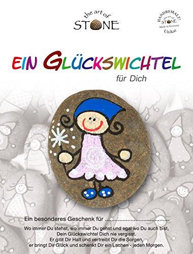 The Art of Stone Glückswichtel Stein RosaWeißBlau mit Spirale, individualisierbarer Glücksstein, von Hand bemalt