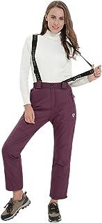 Pantalones de esquí y Snowboard para Mujer, Pantalones de Nieve con Cintura Ajustable, Tirantes extraíbles, Ropa de esquí Ideal para Esquiar, Fucsia