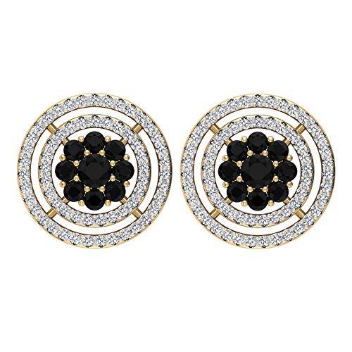 Rosec Jewels 14 quilates oro amarillo redonda round-brilliant-shape H-I Black Diamond Ónix negro