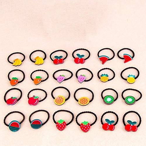 Leeg 24 stks Children's fruit rubberen band hoofdtooi meisje cartoon schattig haar touw haar accessoires