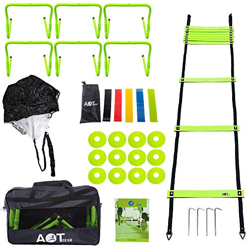 AOT Gear Speed and Agility Training Equipment - Complete Set Includes Agility Ladder, 6 Adjustable Hurdles, 12 Soccer Cones, Running Parachute, 5 Pack Resistance Bands, Carrying Case and Drills Book