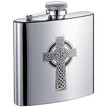 Visol Celtic Cross Stainless Steel Hip Flask, 6-Ounce, Chrome by Visol
