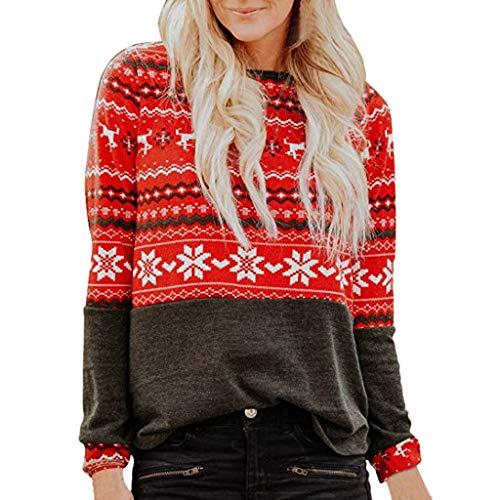FRAUIT Kerstmis dames shirt met lange mouwen sneeuwvlok print pullover premium grappig lange kerstpullover kerstspulli lange trui gebreide jas