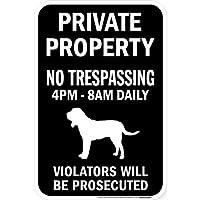 PRIVATE PROPERTY ブラックマグネットサイン:ブラッドハウンド シルエット 英語 私有地 無断立入禁止