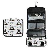 ALARGE - Bolsa de aseo para colgar con flores y animales, diseño de panda