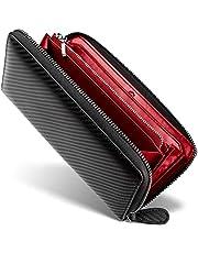 【 GRACE 】イタリアン カーボンレザー 長財布 メンズ ラウンドファスナー 財布