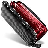 [ GRACE ] 財布 メンズ ラウンドファスナー イタリアン カーボンレザー 長財布 (ブラック/レッ……