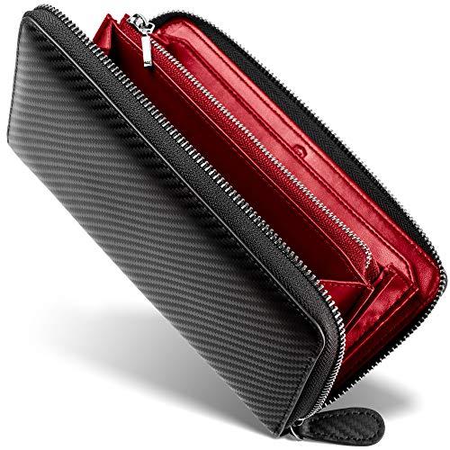 [ GRACE ] 財布 メンズ ラウンドファスナー イタリアン カーボンレザー 長財布 (ブラック/レッド)