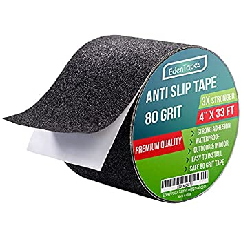 EdenProducts Heavy Duty Anti Slip Tape 4 Inch x 33 Foot Grip Tape Grit Traction Non Slip Non Skid Treads High Traction Friction Abrasive Adhesive Stairs Step - Black