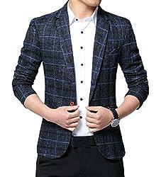 chenshijiu Mens Casual Plaid British Slim Fit Lapel Suit Blazer Jackets