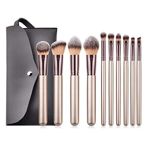 Super doux, facile à appliquer Kit de brosses de maquillage professionnel définit le kit de brosses de maquillage de pro 10pcs avec le sac d'unité centrale outils cosmétiques de beauté Set de pinceaux