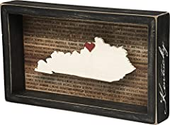 Inset box sign with a dimensional Kentucky state silhouette and background list of the most populated cities Measures 11.25 x 6.5-inches; black distressed style frame with the state name hand lettered on side of frame Includes adhesive mini red heart...