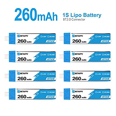 BETAFPV 8pcs BT2.0 260mAh 1S Battery 4.35V 30C/60C FPV Lipo with 1.0mm Banana Connector for FPV Tiny Whoop 1S Brushless Whoop Drone Like Metreor65 Micro Whoop Drone