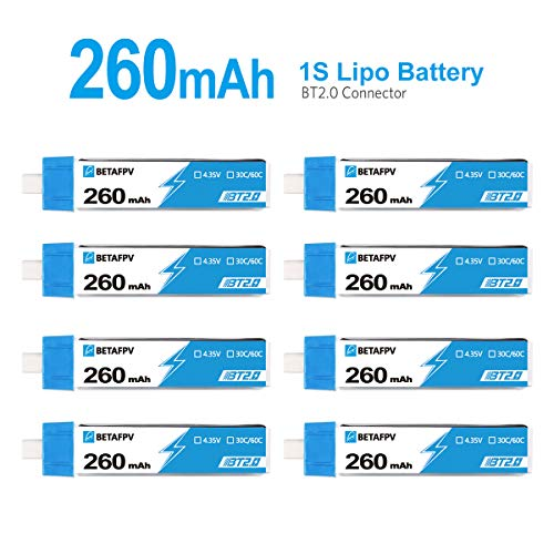 BETAFPV 8pcs BT2.0 260mah 1S Battery 4.35V Lipo 30C/60C FPV Battery with BT2.0 Connector for FPV Tiny Whoop 1S Brushless Whoop Drone Like Meteor65 Acro Micro Drone