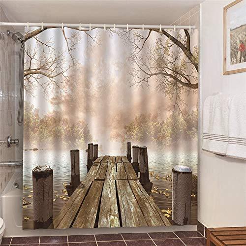 XCBN Cortinas de Ducha de baño de Producto de baño de Playa de Sol de Verano con decoración de Hotel Pantalla Opaca 3D A24 180x180cm