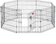 HYGRAD® 8 Panel Wire Metal Pet Dog Small Animal Cat Exercise Playpen Fence Enclosure Cage Den X Larg...
