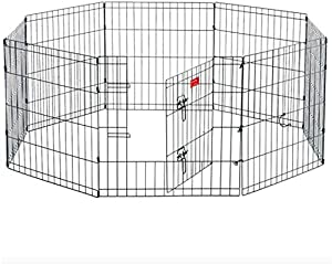 HYGRAD® 8 Panel Wire Metal Pet Dog Small Animal Cat Exercise Playpen Fence Enclosure Cage Den X Large 36