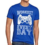 style3 Gamer Workout Herren T-Shirt Play Sport Station Controller ps Game, Größe:XL;Farbe:Blau