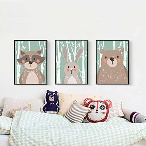 Fox Raccoon Painting Baby Nursery Room Wall Art Canvas Painting For Kids Room Home Decor Nursery Decorative Posters And Prints