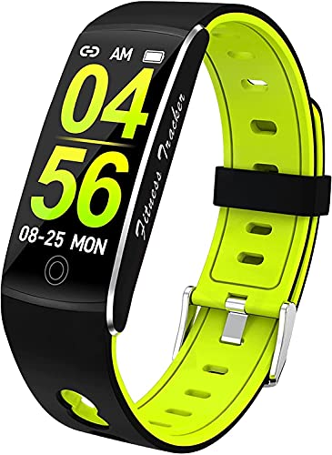 QHG Pulsera Inteligente Presión Arterial Monitor Monitor Fitness Tracker Color Pantalla Bluetooth Reloj Largo Standby Health Smart Relojes para Hombres Mujeres (Color : Blackgreen)