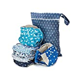Simple Being Reusable Cloth Diapers Double Gusset One Size Adjustable Washable Soft Absorbent Waterproof Cover Eco-Friendly Unisex Baby Girl Boy with six 4-Layers Microfiber Inserts (Under The Sea)