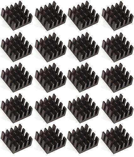 Easycargo 20 Stück 14mm Kühlkörper, 14x14x7 mm eloxiert Schwarz, für Kühler GPU Chips VRAM VGA VRAM RAM (14mmx14x7mm)